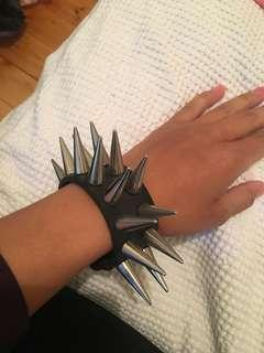 Leather spike bracelet