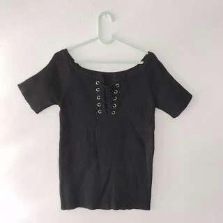 Black lace knit top