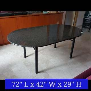 Granite Oval Dining Table with grey suede leather chairs