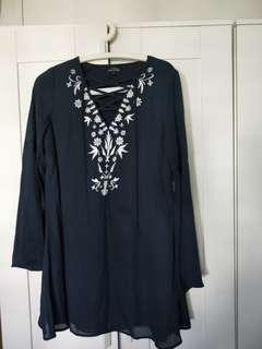 Zalora Bohemian Navy Blue Short Dress