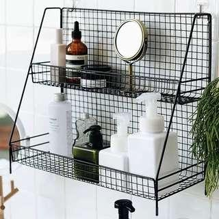 Double Tier Gridded Iron Rack