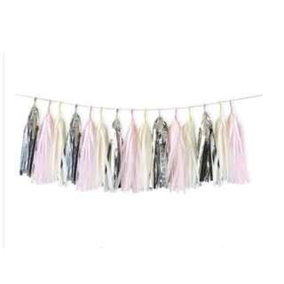 🚚 (In Stock)Pink,Cream,Silver Paper Tassels Decoration Set