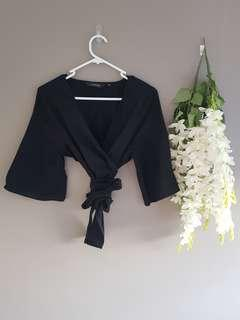 Black linen crop tie top