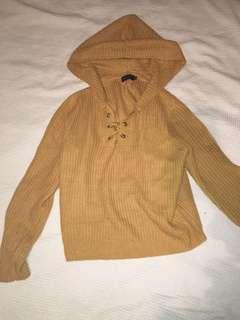 Mustard knit top, size XL