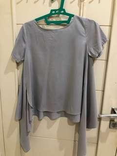 Tied top gray blouse