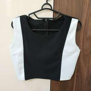 Set Crop Top + Rok Sepan Hitam Putih
