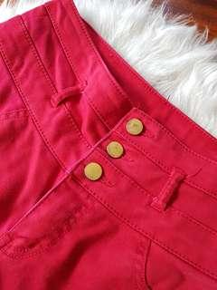 Red High-waisted Skinny Jeans