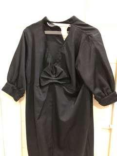 Dress hitam backless kemeja