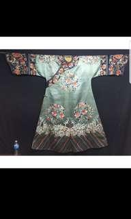 Chinese Qing Dynasty Manchu Imperial Court Lady's Informal Silk Robe