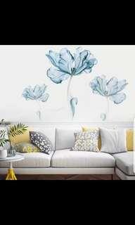 ✔Instock 2 in 1 Large Size Small fresh blue flower wall stickers creative bedroom room warm background decoration wall sticker self-adhesive painting