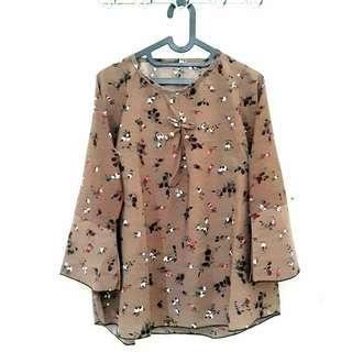 Big Size Blouse Floral Brown Top Long Sleeves