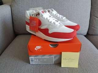 """Steal - Retail $219 Brand New Nike Air Max 1 Anniversary """"OG"""" Red US9.5/UK8.5"""