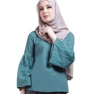 POPLOOK Maryjo Embroidered Bell Sleeve - Green