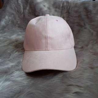 Pink suede fabric baseball cap