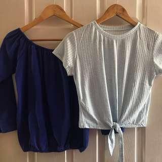 BUNDLE • Blue Tops Bundle / Off shoulder / Tie shirt