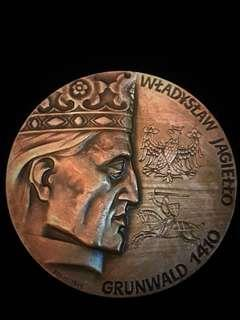 1986 Poland King Wlayslaw Jagiello Battle of Grunwald 1410 - Victory Against German Teutonic Knights. Very Large Medal - Rare. Bronze, High-3D Relief. Excellent TOP Condition.