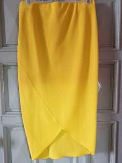 Yellow Pencil Cut Skirt