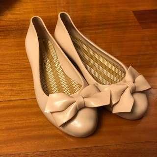 雨鞋 平底 粉色