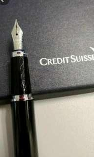 Credit Suisse Iridium point fountain pen with 2 ink