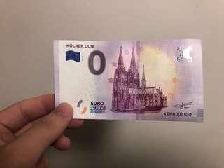 科隆大教堂0歐元紀念鈔 靚Number