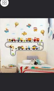 🎁DIY Cute children's room baby bedroom animal small train waist line wall sticker cartoon kindergarten track train stickers