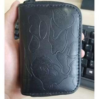 🚚 A Bathing Ape Bape head Black Card holder key Coins Bag wallet