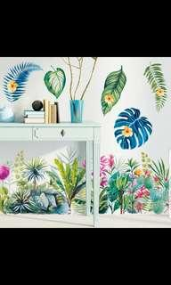 🎉New Arrival Nordic Tropical plant leaves Baseboard door bedroom wall skirt wall decorations stickers waterproof wall sticker