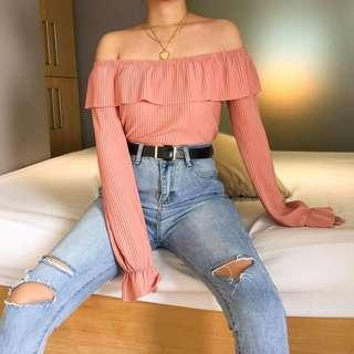 Pleated off shoulder rough pink