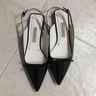 Zara black pointed bow patent slingback flats