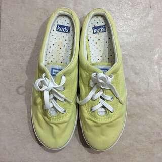 Keds yellow green half sneaker slip on