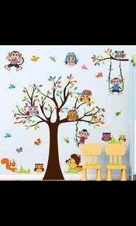 🎁Big tree animal monkey owl wall sticker kindergarten layout cartoon baby children room boy wall sticker self-adhesive