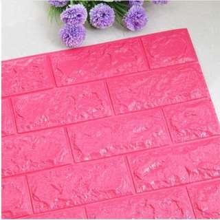 Foam Brick fushia pink Peel & Stick 3D Cushioni Wall Panels