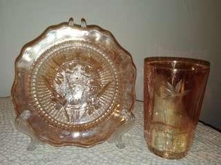 Vintage glass saucer plate & drinking  glass
