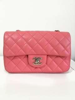 Chanel Mini Rectangular Lambskin Pink