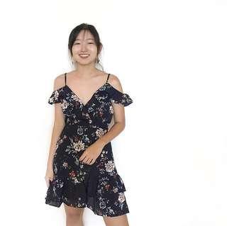 Navy Blue Floral Off-Shoulder Dress