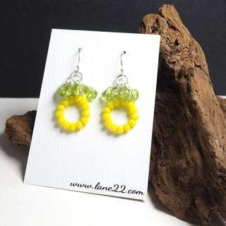 Peridot stones, glass beads pineapple handmade earrings. Round yellow green earrings. 925 sterling silver hooks