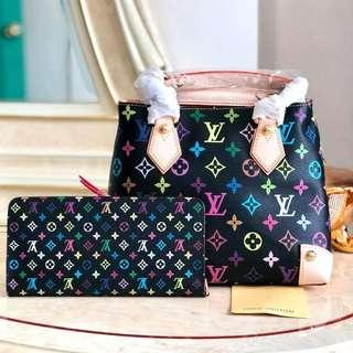 LV Bucket Bag multicolor monogram with Wallet *Authentic quality
