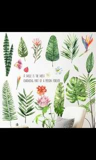 🎉New Arrival Nordic Green leaf wall sticker living room bedroom dormitory self-adhesive waterproof stickers door plant flower wall decoration stickers