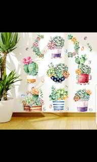 🎉New Arrival Succulent cactus plants wall sticker living room bedroom children's room kindergarten wall glass pot stickers fresh self-paste decoration diy home decor