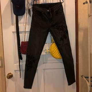 Black Flower Embroidered Skinny Jeans #3x100