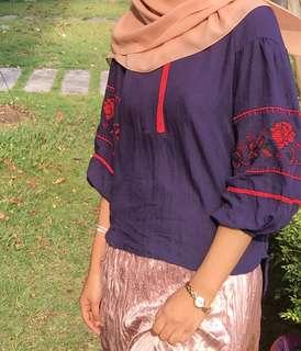 Bohemian Embroidered Dark Blue Blouse #3x100