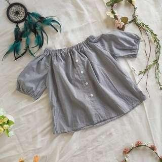 Gray and white striped off shoulder blouse ❤