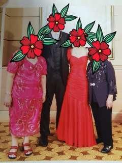 Red evening gown dress wedding tea ceremony