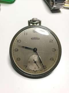 1940s Roamer Vintage Stainless Steel Pocket Watch