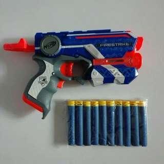USED Nerf Elite Firestrike Fire Strike Blue with 10 3rd party darts Hasbro TRU