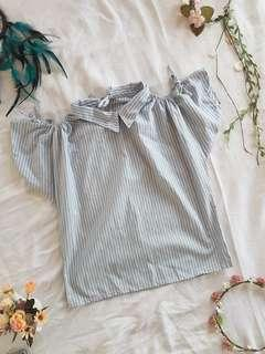 Denim blue and white striped cold shoulder blouse ❤