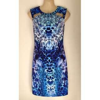 Blue Multi Leopard Animal & Jewel Bodycon Mini Dress Sz 8-10 AU by Lipsy London