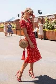Red Floral Midi Wrap Dress