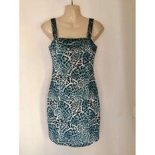 Ebonie & Ivory Blue Velvet Leopard Festival Bodycon Mini Dress sz 10-12