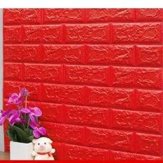 Foam Brick RICH RED Peel & Stick 3D Cushioni Wall Panels